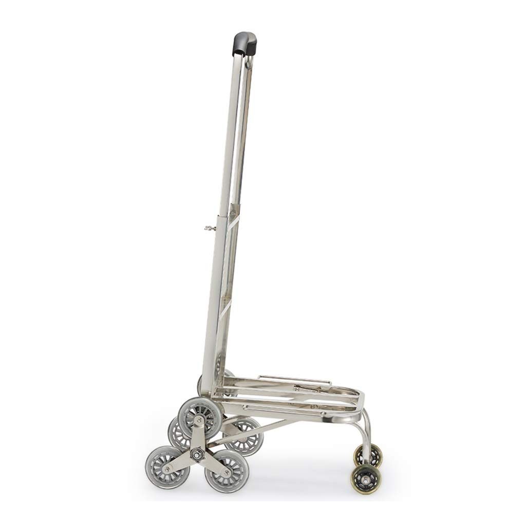 Xilinshop Portable Utility Carts Stainless Steel Shopping Cart Can Climb Stairs Hand Cart Folding Portable Handling Truck