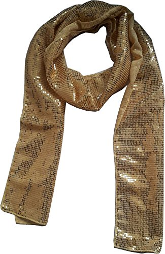 KVR Gold Polyester vintage glitter fashion dance party girlie long lightweight designer sequin scarfs cum waist belt (Gold-10cm wide) Vintage Gold Sparkle