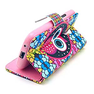 TOPMM Diamond Puzzle Owl Pattern PU Leather Case with Card Slot and Stand for Samsung Galaxy S4 mini I9190