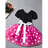 YANYANGirlDress Girl's Daily Going Out Polka Dot Dress, Cotton Polyester Summer Short Sleeves Simple Cute Active Red Fuchsia