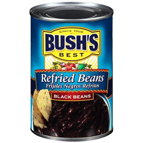 Black Refried Beans - Bush's Best Black  Refried Beans, 16 oz (12 cans)