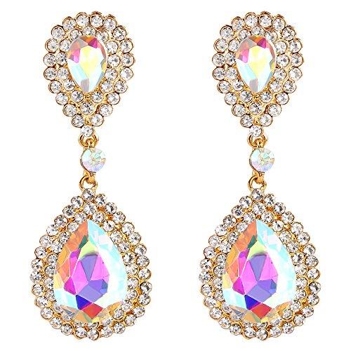 BriLove Gold-Toned Dangle Earrings for Women Wedding Bridal Fashion Crystal Teardrop Infinity Earrings Iridescent AB ()
