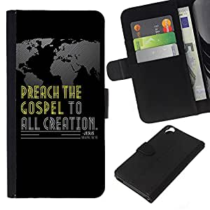 KLONGSHOP // Tirón de la caja Cartera de cuero con ranuras para tarjetas - BIBLIA Marcos 16:15 predicar el Evangelio a toda la creación - HTC Desire 820 //