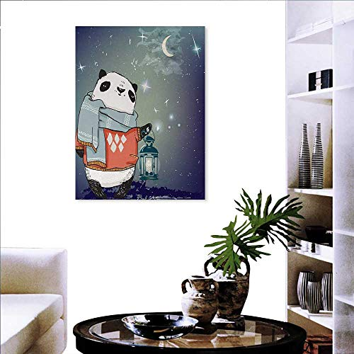 ome Panda Bear a Scarf Outside in The Starry Winter Night Grunge Looking Artwork Fashion Stickers Wall 24