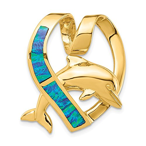 14k Yellow Gold Imitation Blue Opal Heart Dolphin Slide Necklace Pendant Charm Chain Fine Jewelry Gifts For Women For - Slide Dolphin 14k Gold
