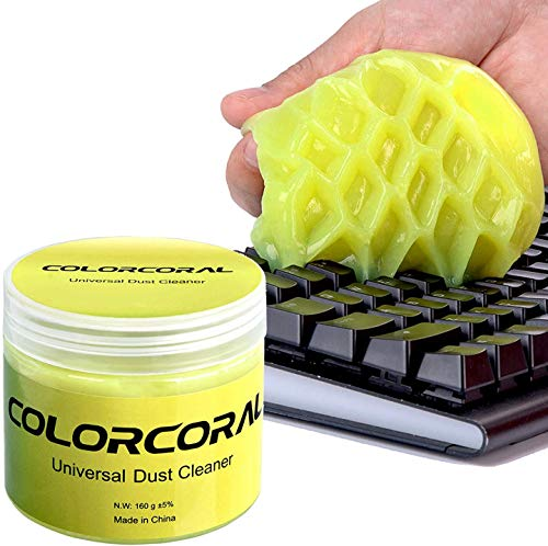 Keyboard Cleaner ColorCoral Cleaning Gel Universal Dust Cleaner (160g) for PC Tablet Laptop Keyboards, Car Vents, Cameras, Printers, Calculators and Other Plastic Rugged Surface