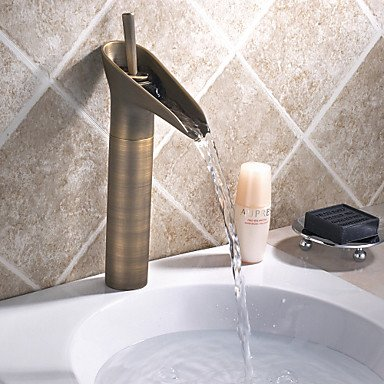 Vintage Style Antique Brass Finish Tall Bathroom Sink Faucet