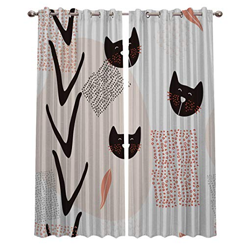 Fantasy Star Curtains for Living Room with Grommet, Modern Fashion Cat Blackout Thermal Insulated Windows Treatment Curtains for Bedroom (2 Panels, 27.5 x 39 Inch Each Panel)