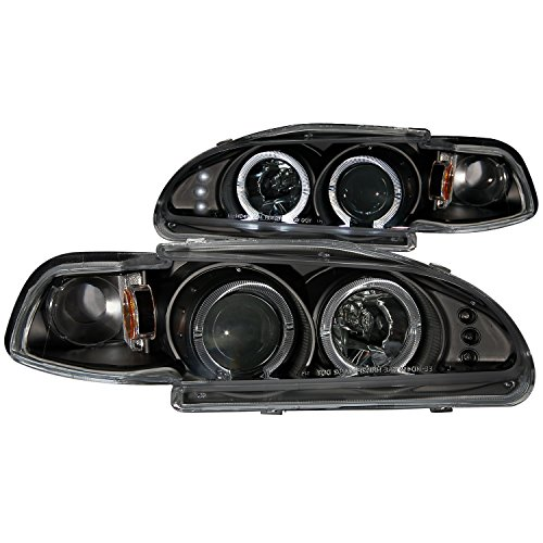 AnzoUSA 121320 Black Projector Halo Headlight for Honda Civic - (Sold in Pairs)