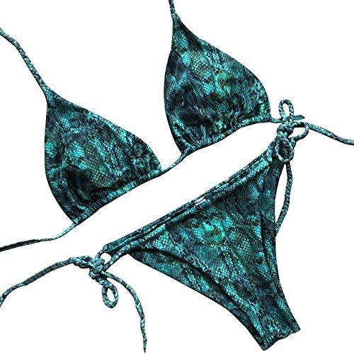 Weiliru Women's Two Piece Swimsuits Dream Space Lace Up Bikini Set Beach Swimwear Green -