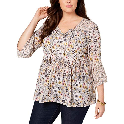 (Style & Co. Womens Plus Floral Print Pullover Peplum Top Pink 1X)