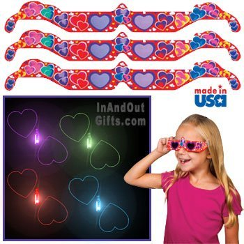 3D Holographic Glasses: See HEARTS at Any Bright Point of Light-Pack of 5, Model: , Electronic Store