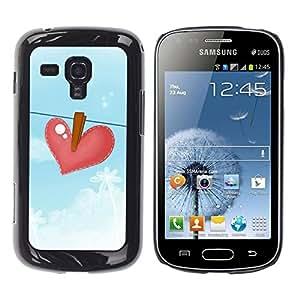 FECELL CITY // Duro Aluminio Pegatina PC Caso decorativo Funda Carcasa de Protección para Samsung Galaxy S Duos S7562 // Blue Heartbreak Drawing Sad