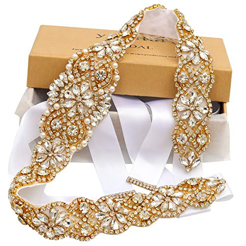 Yanstar Handmade Gold Crystal Beads Belts Sashes For Bridal Wedding Gowns (Big Gold Belt)