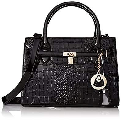 MG Collection Hessa Structured Tote Purse Convertible Shoulder Bag, High Gloss Black, One Size