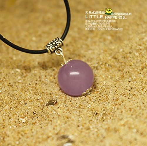 - usongs Mysterious noble natural purple chalcedony 12MM transport sphere necklace pendant fashion personality