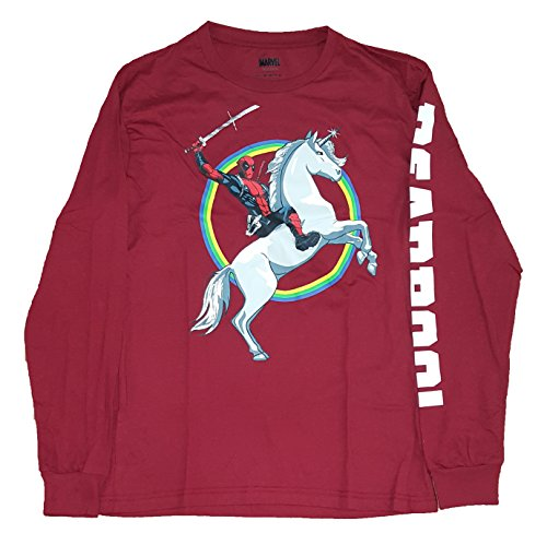 Marvel Comics Deadpool Riding Unicorn Red Long Sleeve Graphic T-Shirt