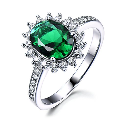 Lab Green Emerald Engagement Ring CZ Diamond Halo 925 Sterling Silver White Gold 7x9mm Oval Flower Retro by Milejewel Emerald Engagement Ring