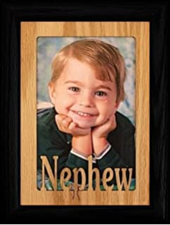 5x7 nephew portrait black picture frame holds a 4x6 or cropped 5x7 photo