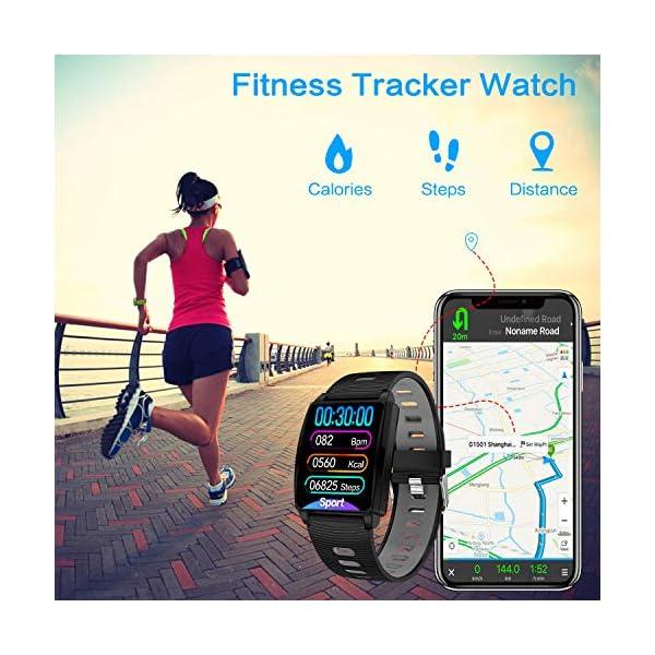 Reloj Inteligente, KINGLINK Smartwatch con Cronómetro Pulsera Inteligente Impermeable Monitor de sueño Pantalla Color Podómetro con Pulsómetro, Calorías IP68 para Android y iOS (Negro) 4