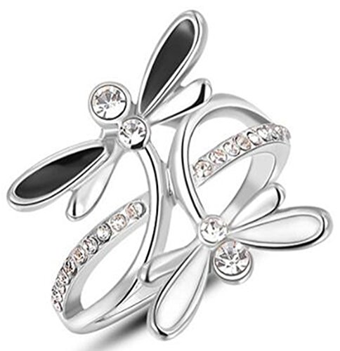 TEMEGO Vintage Dragonfly Ring for Women Girls,White Gold Black White Enamel Small CZ Unique Animal -