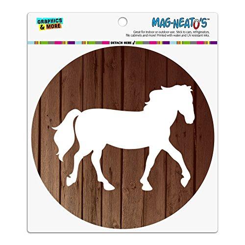 Horse Silhouette Cowboy Western Automotive Car Refrigerator Locker Vinyl Circle Magnet