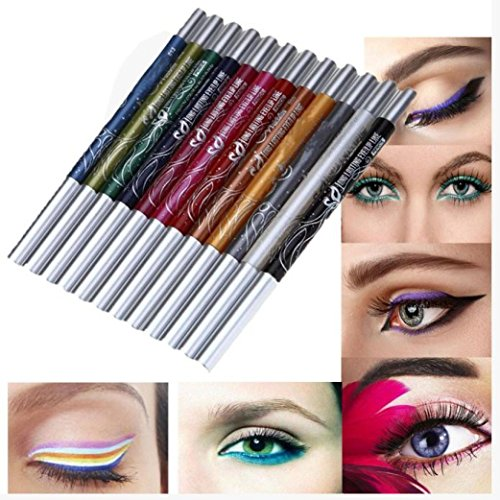 ❤JPJ(TM)❤️ Girls Eyeliner,12 Colors Women New Eyebrow Glitter Shadow Lip EyeLiner Pencil Pen Cosmetic Makeup Set Kit (Multicolor) (Little Minerals Kisses Lipstick)