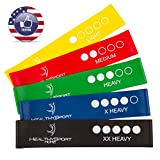 Resistance Bands - Exercise Bands - Workout Bands for Legs Butt Thighs with Instruction Guide - Carry Bag - Set of 5 - Best Resistance Loops for Women - Men - Kids - Fitness - Strength - Rehab - Yoga