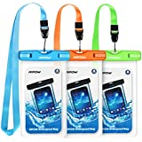 """Mpow Waterproof Case, Universal IPX8 Waterproof Phone Pouch Underwater Phone Case Bag for iPhone X/8/8P/7/7P, Samsung Galaxy S9/S9P/S8/S8P/Note 8, Google Pixel/LG/HTC up to 6.0"""" (Blue Orange Green)"""