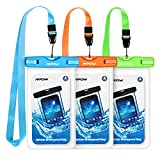 Mpow Waterproof Case, Universal IPX8 Waterproof Phone Pouch Underwater Phone Case Bag for iPhone X/8/8P/7/7P, Samsung Galaxy S9/S9P/S8/S8P/Note 8, Google Pixel/LG/HTC up to 6.0'' (Blue Orange Green)