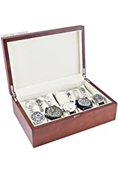 Caddy Bay Collection Wood Watch Case with Solid Top Lid and High Clearance for 10+ Large Watches