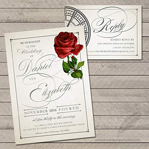 Be Our Guest Rose Wedding Invitations and RSVP Cards (Set of 10) Envelopes Included -