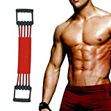 Chest Expander Muscle Exerciser Adjustable Pull Strength 5 Resistance Bands with Safe Cover (Red)