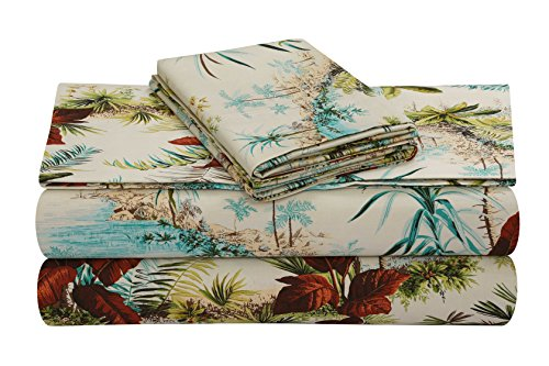 Bed King Island (TRIBECA LIVING PARAISL4PSSKI Extra Deep Pocket Sheet Set, King, Paradise Island Multi)