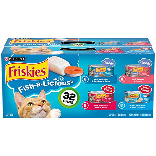 Purina Friskies Variety Pack Cat Food, Fish-A-Licious Shreds, Prime Filets & Tasty Treasures – (32) 5.5 oz. Cans