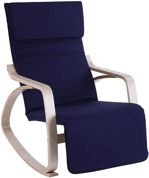 c/ómoda y Relajante Silla de sal/ón Mecedora Tumbona Ocio Sill/ón reclinable con reposapi/és Ajustable Coj/ín Suave para el hogar Jard/ín Oficina lyrlody Mecedora Azul Oscuro