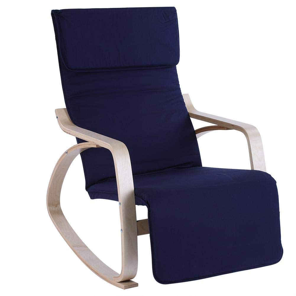 EBTOOLS Rocking Relax Chair, Comfortable Rocking Lounge Adjustable Relax Chair Modern Home Office Furniture(Dark Blue)