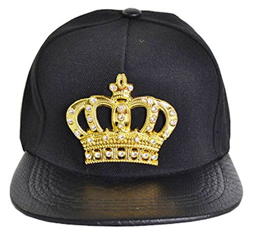 Hip Hop Crown (Ambiel Hip-Hop Diamond Crown D¨¦cor Adjustable Snapback Caps Black)