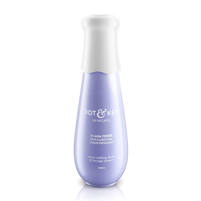 Dot & Key 5% AHA Toner Skin Clarifying Liquid Exfoliant, 120ml, Lactic & Glycolic Acid Toner for Women. Paraben Free, Cruelty Free