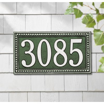 (Whitehall Products Egg and Dart Rectangular Black/Silver Standard Wall One Line Address Plaque )