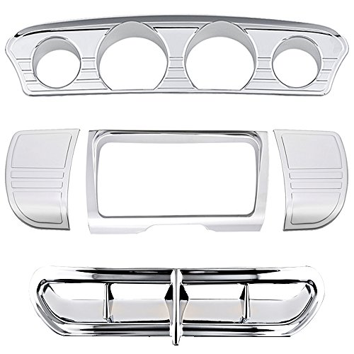 acement for Harley Motorcycle 2014-2016 Touring Electra Street Glide Trike Tri Line Stereo Side Panel Center Gauge Trim + Fairing Accent Covers (Chrome) ()