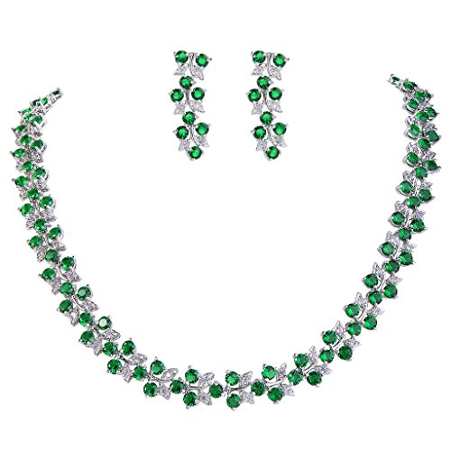 (EVER FAITH Women's Cubic Zirconia Floral Leaf Wedding Necklace Earrings Set Green w/Clear Silver-Tone)