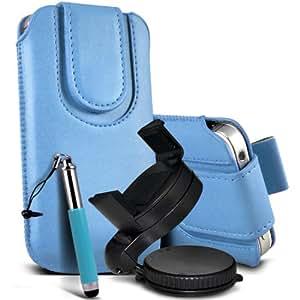 Samsung Galaxy Ace 2 I8160 premium protección PU botón magnético ficha de extracción Slip espinal en bolsa de la cubierta de piel de bolsillo rápido con aguja retractable de la pluma y de 360 ??Sostenedor giratorio del parabrisas del coche cuna de bebé azul por Spyrox