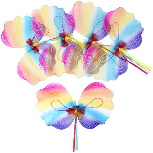 Fairy For Kids (fedio Girls Fairy Wings 5 Pack Princess Butterfly Costume Wings Set for Kids Dress up Birthday Party(Ages 3-6 Years) (Rainbow Fairy Wings(5)