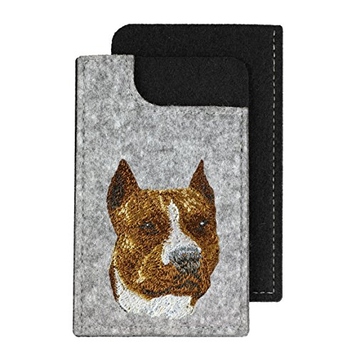 (American Staffordshire Terrier, A felt phone case with an embroidered image of a dog)