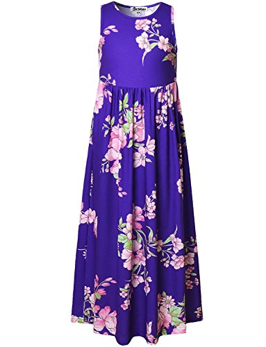 Floral Maxi Dresses for Girls Sleeveless Summer Little Kid Navy Casual Teen -