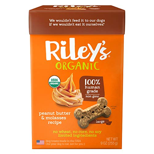 Riley's Organic Dog Treats - Large Bone Peanut Butter & Molasses Dog Treats - USDA Organic, Certified Vegan and Non GMO Project Verified Dog Biscuits - 100% Human Grade - 9 Oz Carton