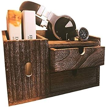 WCloud Desk Office Desktop Organizer Supplies Book Shelf Case Wood Rack  Vintage Rustic Counter Table Drawer