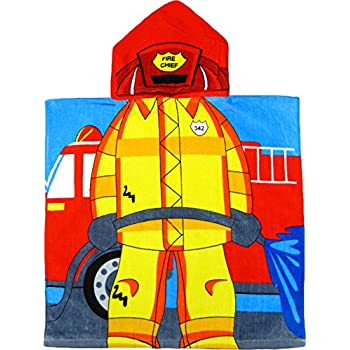 Mozlly Kids Super Hero Hooded Bath Towel and Kids Fireman Hooded Bath Towel Bath