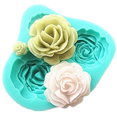 Yingwei 4 Size Green Rose Flower Candy Molds, Chocolate Molds, Silicone Molds,Icing Molds Silicone Baking Molds